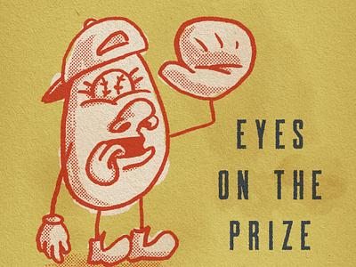 Eyes On The Prize paper biscuit texture halftone primary colors baseball truegrit sketch design doodle illustration cartoon