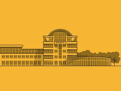 Kennesaw Hall university kennesawstateuniversity gold yellow trees windows logo landmark icon illustrator stroke line work monochrome building campus college landscape cityscape vector design