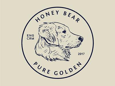 Honey Crest design illustrator vector sketch truegrit currency crest logo badge golden retriever dog illustration dog illustration stamp seal coin crest