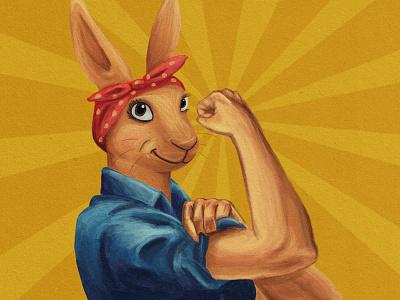 Rosie the Riveter sunburst wecandoit strong bandana bunny design drawing digitalart photoshop primarycolors cartoon worldwar2 animal illustration propoganda ww2 rabbit rosietheriveter rosie