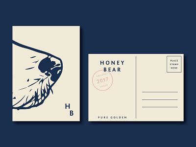 Honey Bear Postcard identity stamp application logo typography illustration branding design postcard design postcard