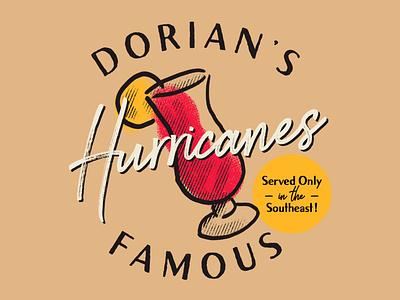 Dorian's Famous Hurricanes hurricane dorian restaurant vintage branding cocktail hurricane dorian
