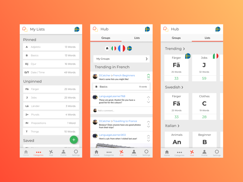 Phrasebook Mobile - Lists + Hub flat web mobile ux ui design app
