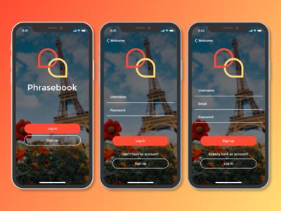 Login/Register Screens mockup app design flat ui mobile ux