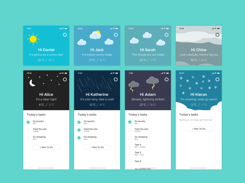 Your day todo weather illustration vector mockup ios mobile ui flat design app