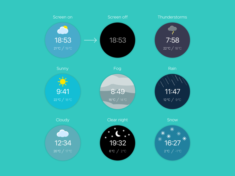 Weather Watch Faces vector ui illustration flat design watch