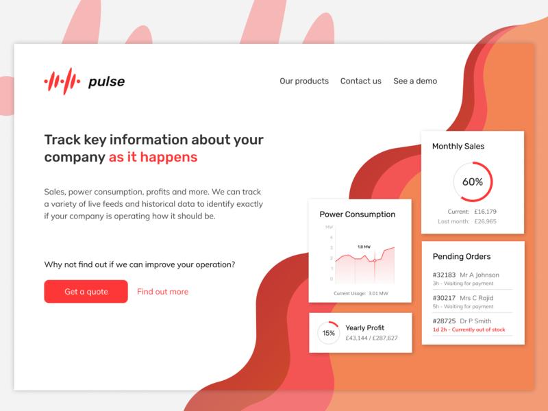 Pulse Analytics - Landing page website landing page analytics data web design web branding design flat