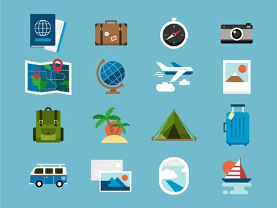 Travel Icons van bag sailboat summer vacation camp world map airplane flaticons icons travel camera compass luggage suitcase passport