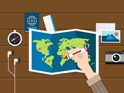 Planning a trip passport camera compass travel trip roadtrip map