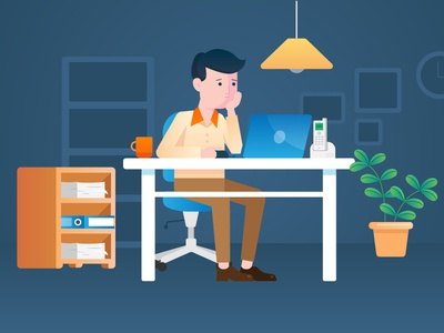 Working at night vector paperworks office desk workspace stressed laptop work night workfromhome