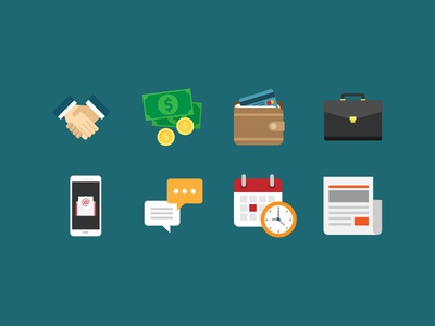 Business Icons 1 flatdesign vector flat icons clock report message calendar phone suitcase wallet money handshake icons business