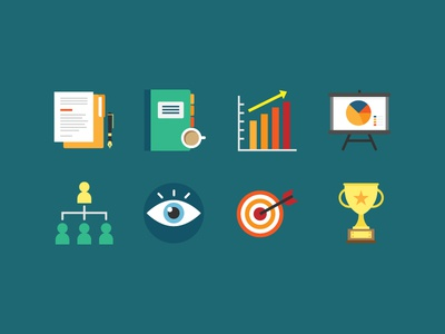 Business Icons 2 reports icon pack iconset vector trophy goal target mission vision eye administration presentation flat icon icons graphs paperworks report