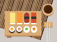 Sushi illustration flatdesign sushi roll flat vector sauce chopstick tamago japanese foodie food vector sushi