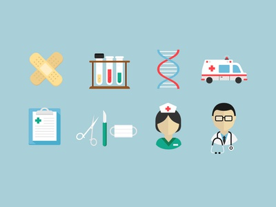 Medical Icons 1 vector flat icons icons medical doctor nurse face mask clipboard ambulance dna testing test tubes band aid