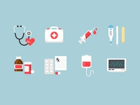 Medical Icons 2 heartbeat vector icons flat icons ecg prescription tablet medicine thermometer blood injection first aid medical stethoscope