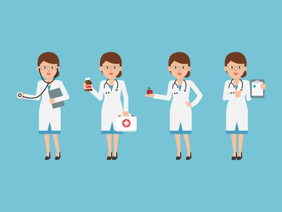 Female Doctor clipboard apple stethoscope medicine illustration character design flat design vector character doctor female