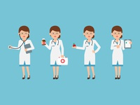 Female Doctor clipboard apple stethoscope medicine illustration character design flat design vector character doctor female