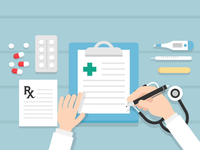 Doctor Writing topview hand writing medicine tablet thermometer prescription medical stethoscope clipboard doctor illustration vector animation motion motion design motiongraphics