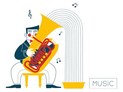 Tuba player notes waterfall white yellow basin red blue water man tuba music