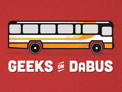 Geeks on DaBus illustration red orange bus geeks