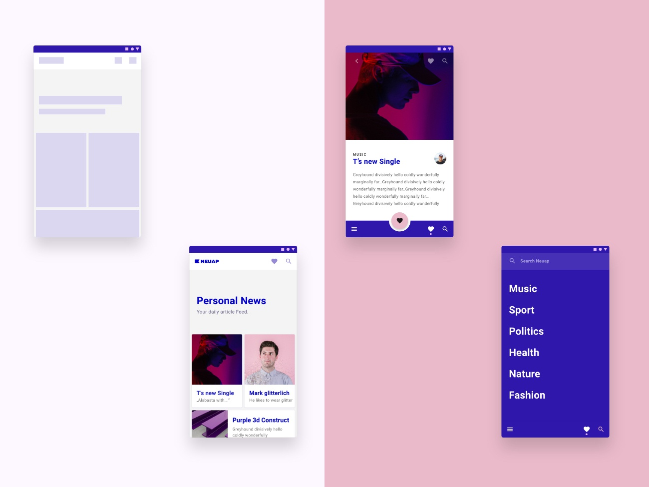 News app for young people using Material Design adobexd purple icon appdesign branding app ux app design ui design uxui product design productdesign android materialdesign