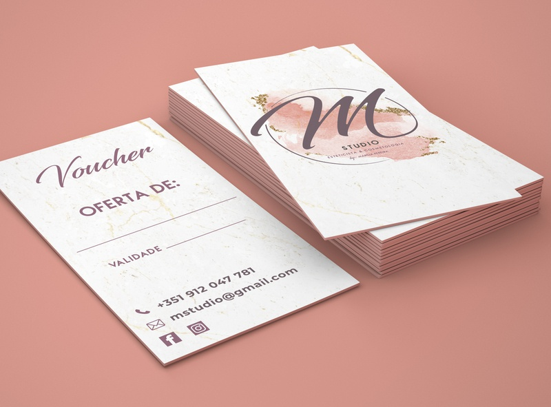 M Studio Cosmetic by Márcia Pereira Business Cards bussines business card business card logo branding typography mockup communication graphic design