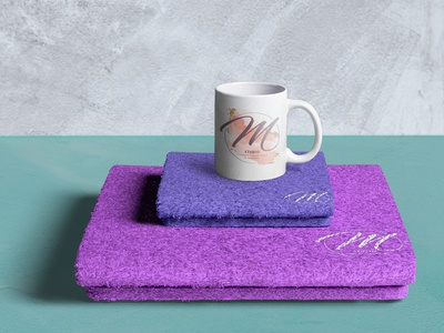 M Studio Cosmetic by Márcia Pereira Stamp Towel logo branding typography mockup communication graphic design