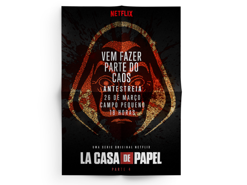 Key Visual for Netflix series La Casa de Papel Invite invite money heist la casa de papel netflix typography mockup communication graphic design