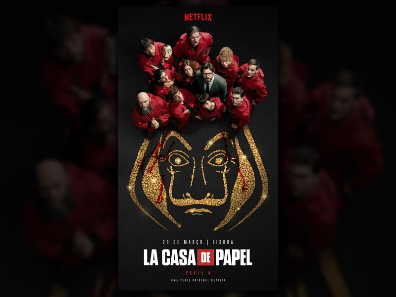 Key Visual for Netflix series La Casa de Papel blood nugget gold casa de papel papel la casa de papel lcdp heist money heist money netflix logo branding typography mockup communication graphic design