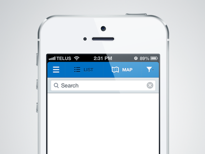 Location Finder location map directions list filter menu search ios ui user interface