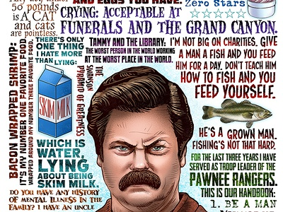Give Me All The Bacon chetart typography art tv show ron swanson parks and recreation