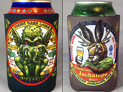 Chetart Can Coolers koozie drink beer can cooler chet phillips jackalope cthulhu