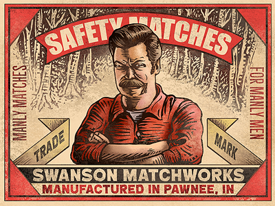 Manly Matches matchbox gallery 1988 chet phillips nick offerman ron swanson parks and rec