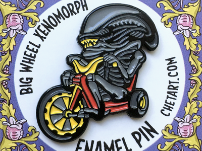 Big Wheel Alien Enamel Pin