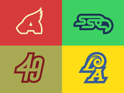 NFC West Rebrands phoenix arizona seattle bay area san francisco los angeles california sports branding sports design sports logo sports rebrand logos logo football logo football nfl