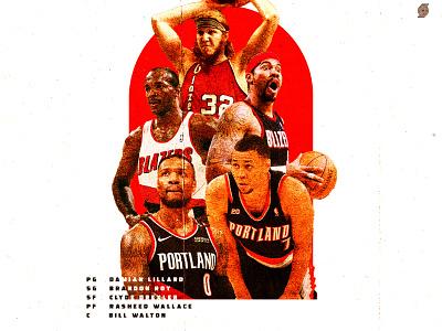Starting 5 sports design oregon pdx portland sports nba basketball trailblazers blazers