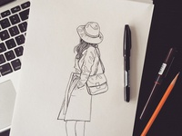 Girl With Hat And Coat