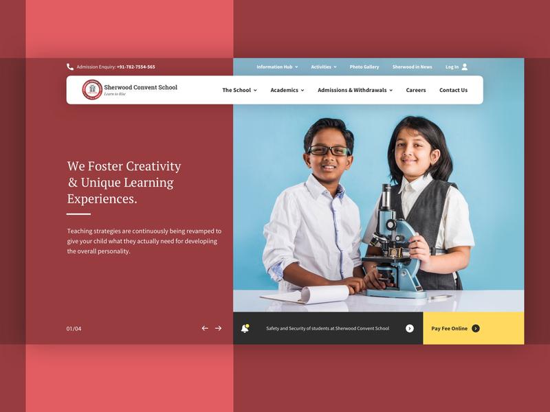 Sherwood Convent School web design ui academics school website hero