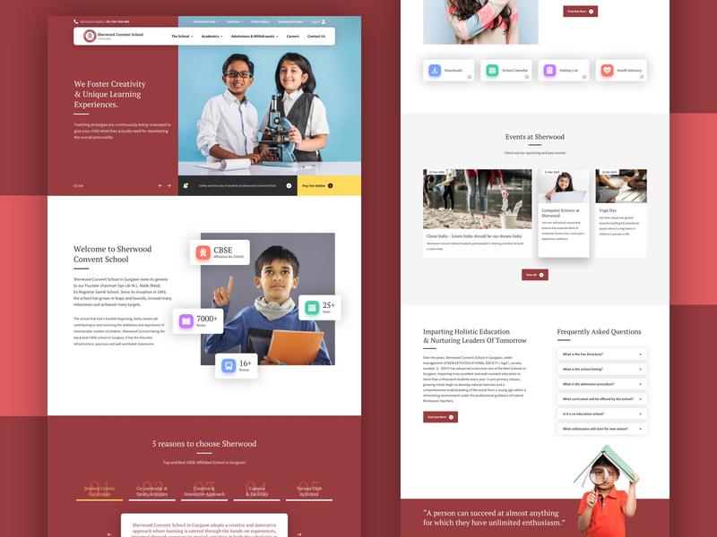 Sherwood Convent School web design ux academics school ui homepage website
