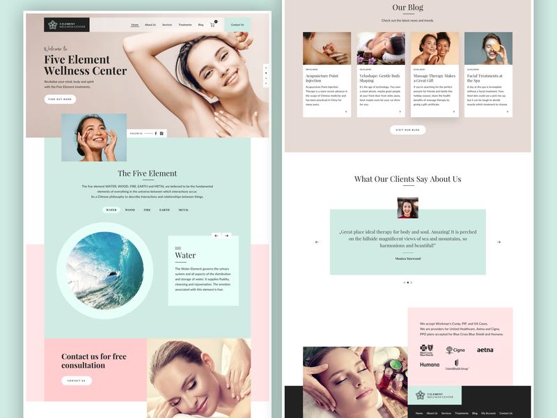5 Element Wellness Center ux ui beauty wellness spa landing page website