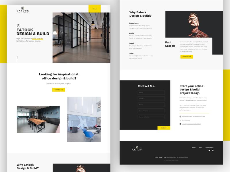 Eatock Design & Build website ux ui landing page minimalistic clean office design interior design