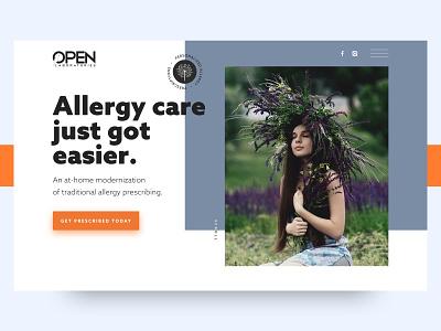 Open Laboratories - Allergy Care website redesign clean landing page ui healthcare health allergies allergy website