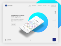 Appinventiv - homepage concept with light/dark switch button.