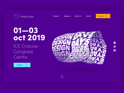 Landing page concept for Design Conference typography web design animation conference website 3d typography 3d animation landing page