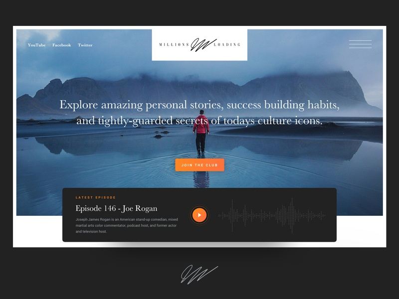 Personal Brand Website Mockup for Millions Loading hero section landing page website ux ui podcasts podcast