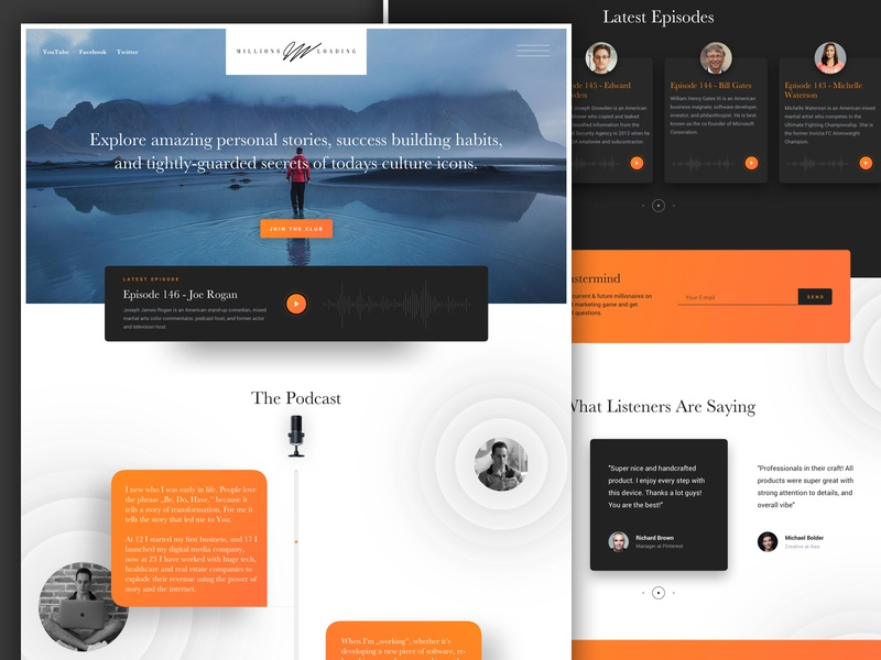 Personal Brand Website Mockup for Millions Loading ui ux podcasts podcast landing page website