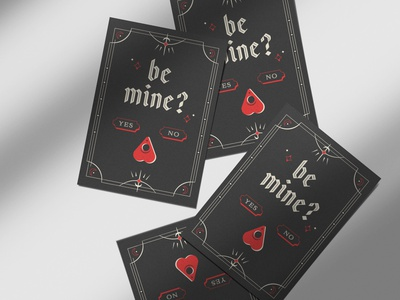 Be Mine black letter illustration print valentinesday valentine be mine ouija mystic