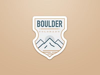Boulder Badge hiking west stickers minimalism minimal sticker mountain colorado badge boulder