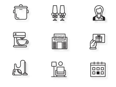 Bed Bath & Beyond Registry Icons illustration icon mixer retail bedbathbeyond icons design icons