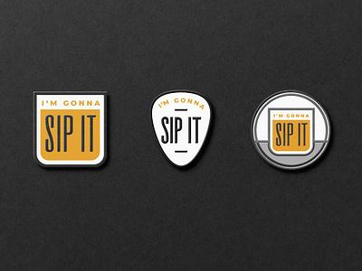 Pin illustrations minimal badge merchandise sip sip it drink pin